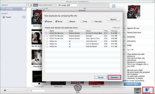 how to show duplicate songs in itunes