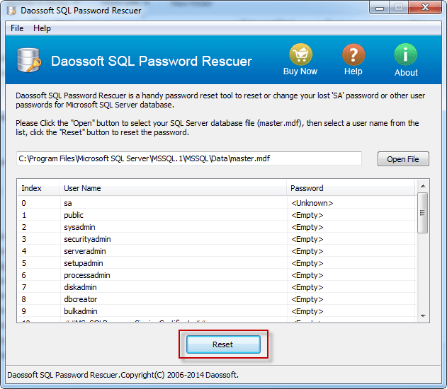 sql password recovery select